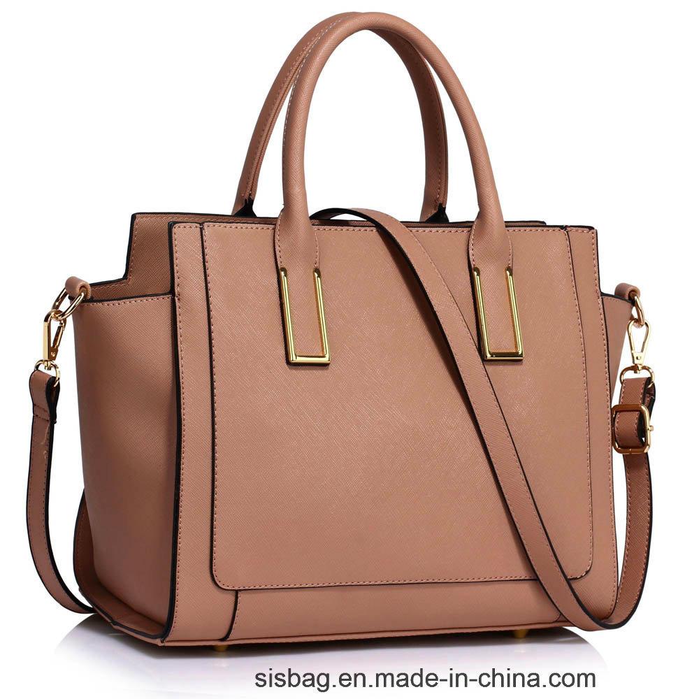 New Fashion PU Grab Tote Handbag Contrast Color Ladies Bag