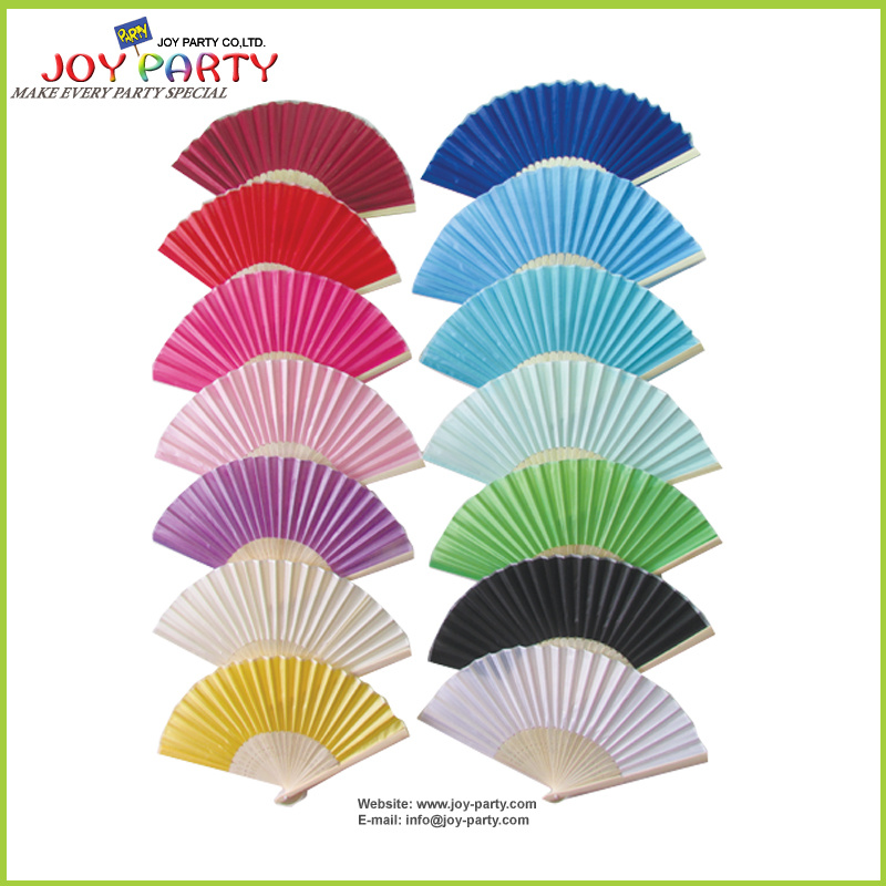 Solid Color Silk Hand Fan for Wedding Gift Favor