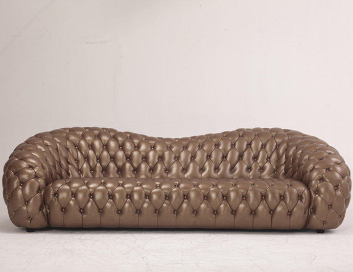 Luxurious Gold Corlor Living Room Leather Sofa (B6)