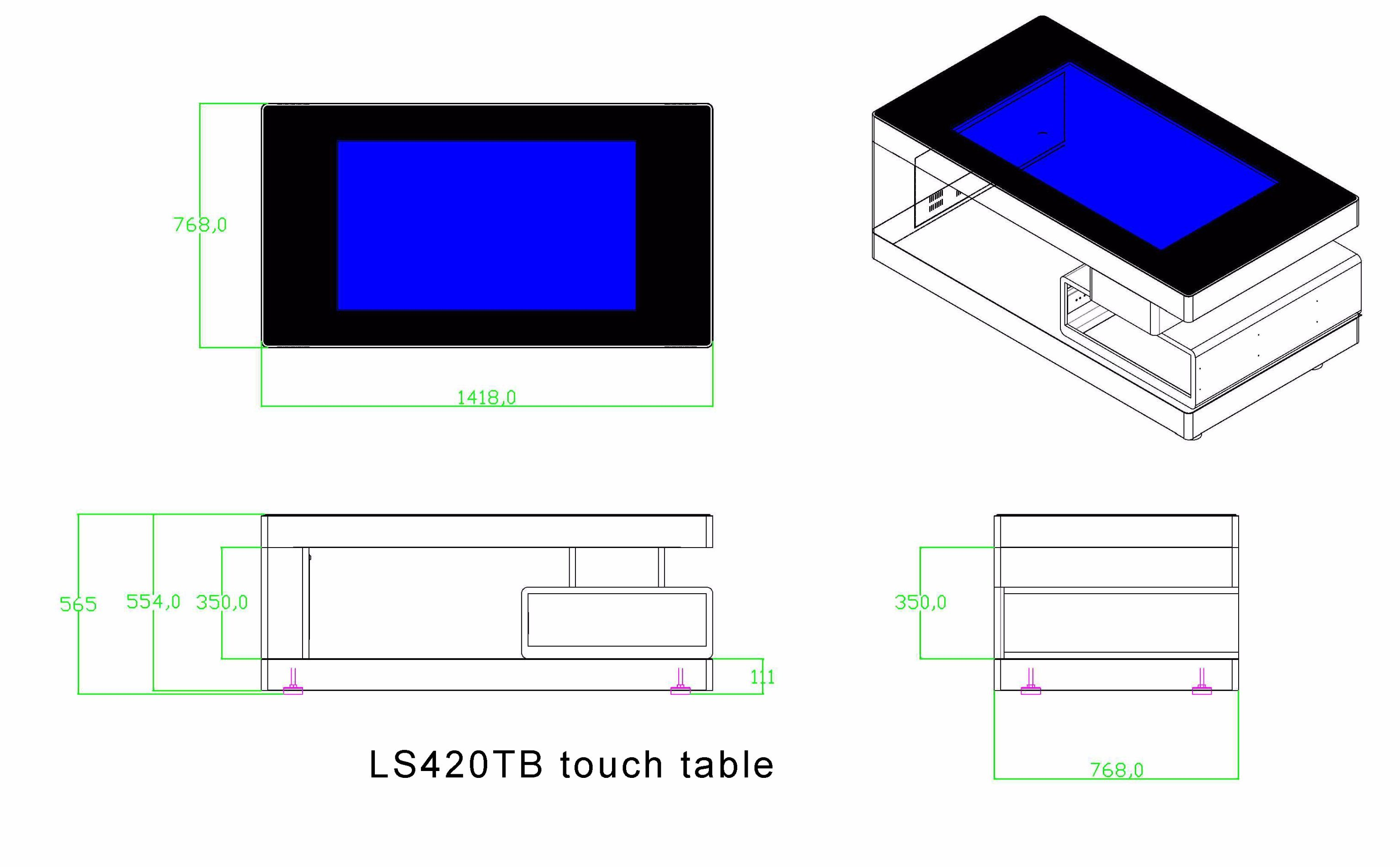 42 Inch LCD Touch Screen Table Smart Table Touch Kiosk