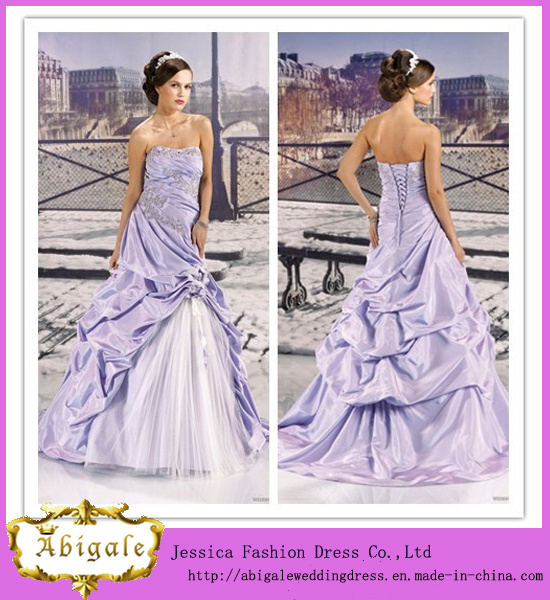 China Elegant A Line Strapless Lace Up Back Appliqued Taffeta Tulle Bridal Purple And White