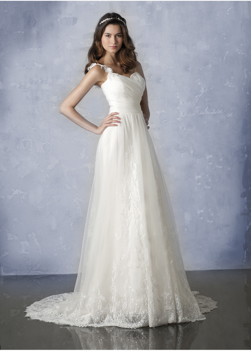 White A Line Wedding Dresses : Spaghetti straps a line white bridal gown wedding dress