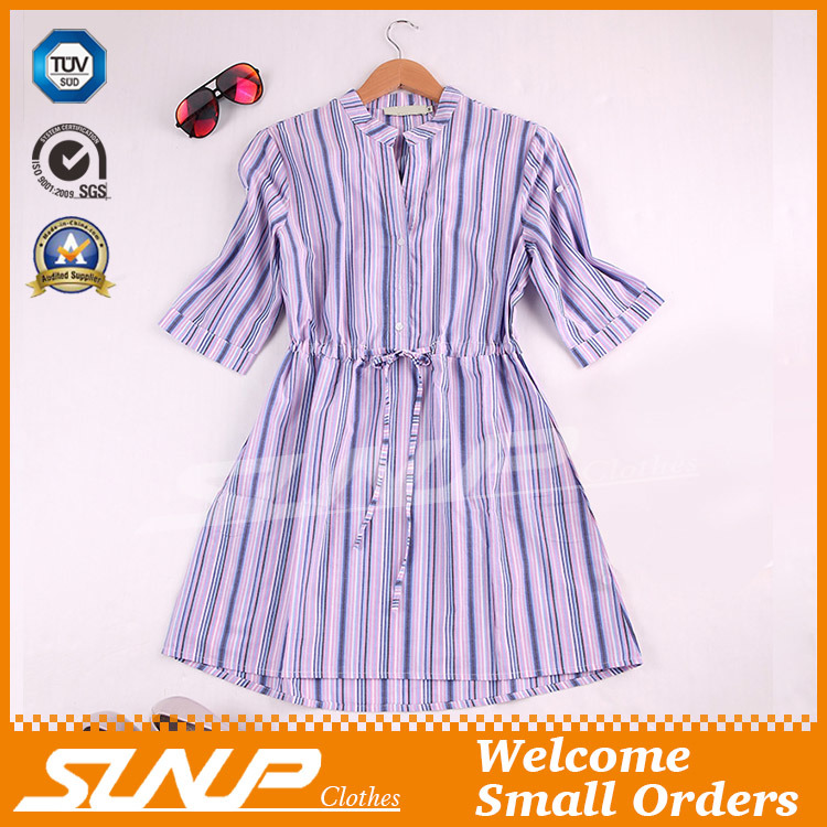 Fashion Women Stripe Shirt with Half Sleeve