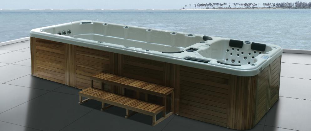 china 2015 hot seller outdoor hot tub with swim side massage side zr 7802 china swim spa. Black Bedroom Furniture Sets. Home Design Ideas