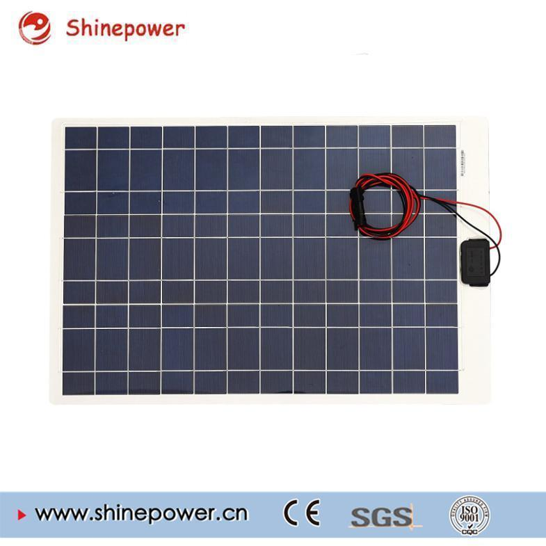 50 Watts 12 Volts Poly Semi-Flexible Solar Panel / Connectors for RV Boat