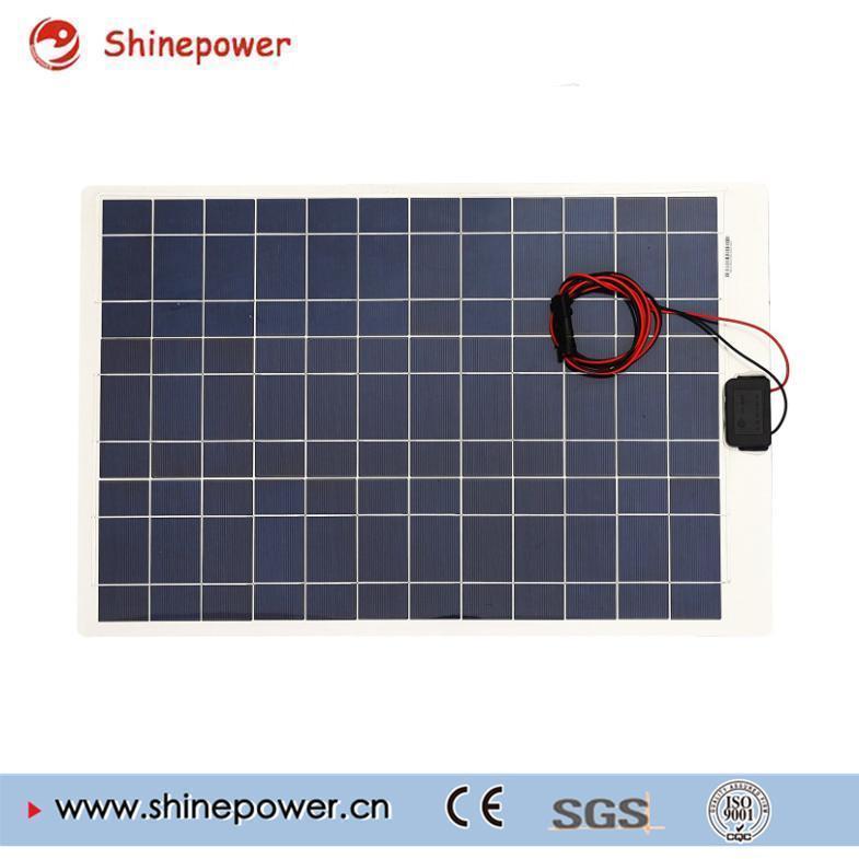 50 Watts 12 Volts Poly Semi-Flexible Solar Panel for RV Boat