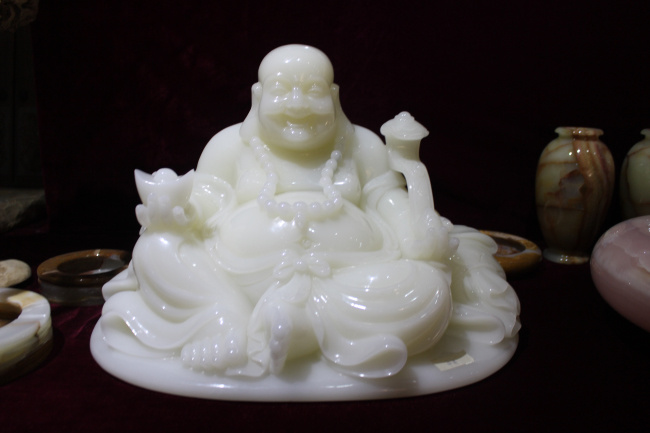 100% Hand Work Jade Carving, Natural Jade Stone Buddha Craft (CS-J)