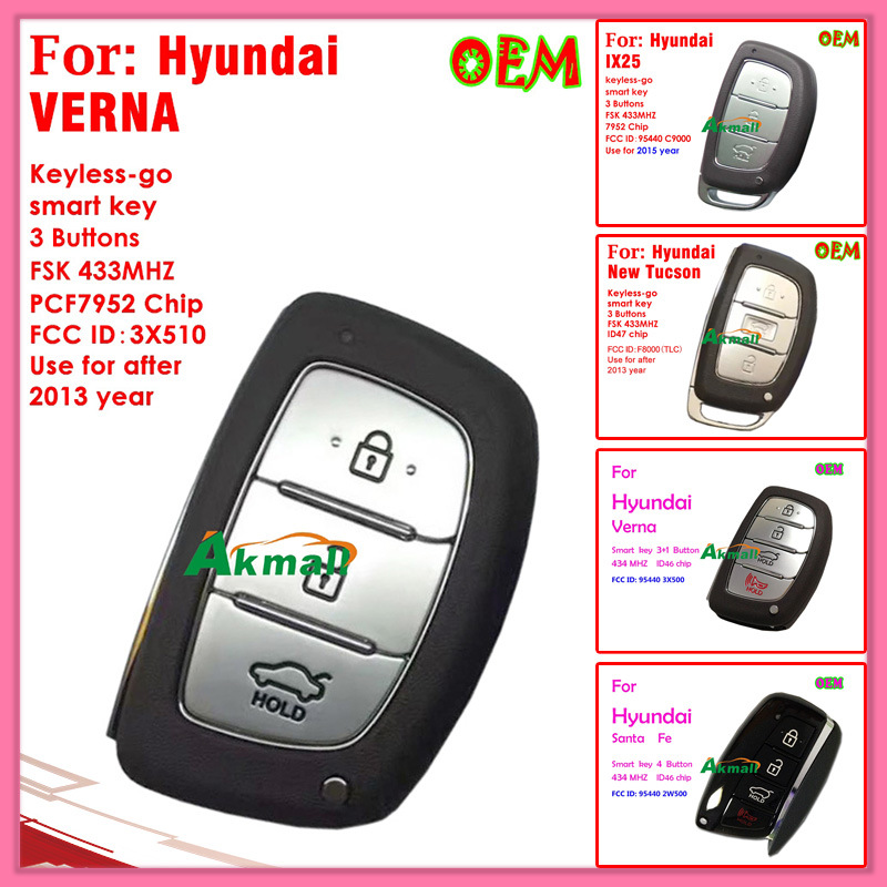 Smart Key for Hyundai Verna with 4 Buttons 434MHz ID46 Chip FCC ID95440 3X500