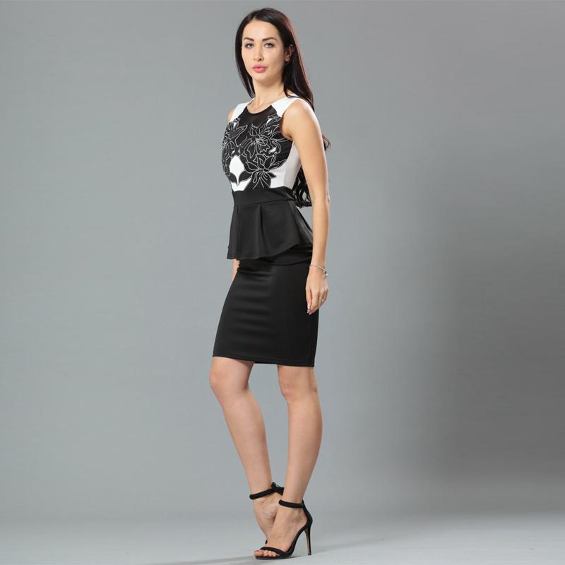 Newest Design Two Piece Lady Peplum Club Dress