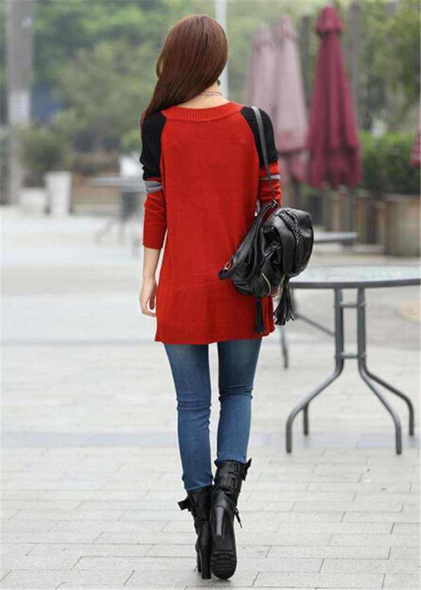 Korean Round Neck Knitwear Top Loose Knitted Pullover Woman Sweater