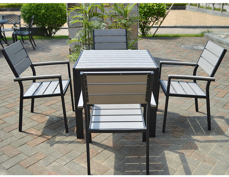 Patio Outdoor Furniture Aluminum Plastic Wood Arm Chair Table (J806)
