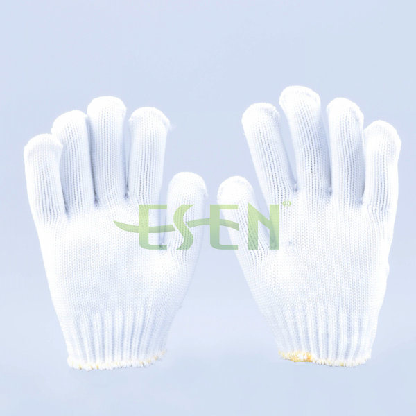 Natural Polyester Natural White Cotton Knitted Working Gloves