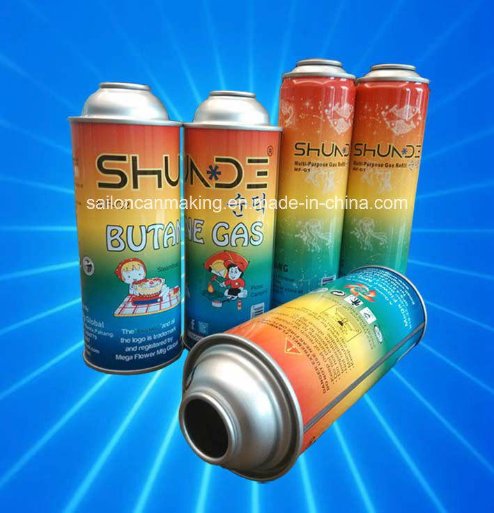 Butane Gas Cans with Shining Pattern Printing and Coating