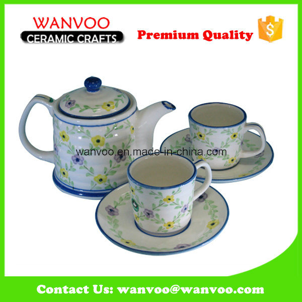 Floral Pattern Ceramic Teaset with Teapot Cups and Saucers