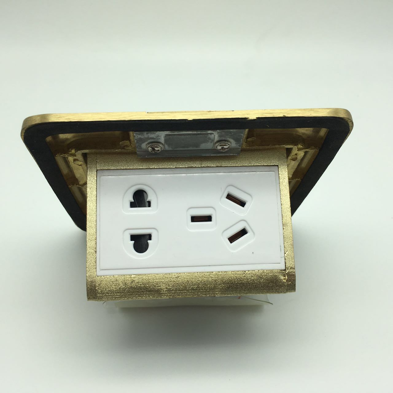 120*120mm Back Size Copper Alloy Gold Color Floor Socket Box