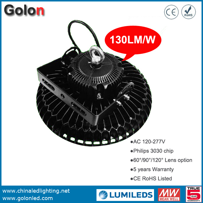 Warehouse Factory Workshop Stadium Sport Court 130lm/W Waterproof 150W LED High Bay Lamp