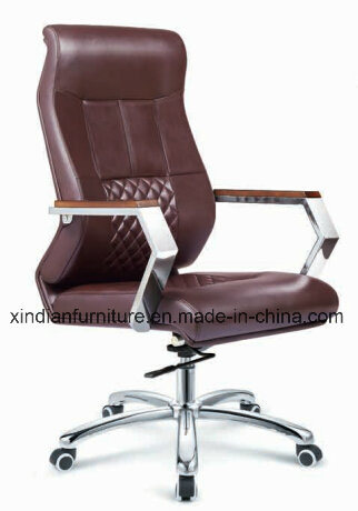 New Office Swivel Wooden Chair of Leather Faced