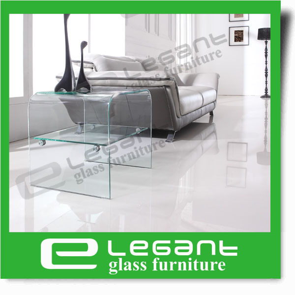Clear Bent Glass Side Table with Clear Glass Shelf