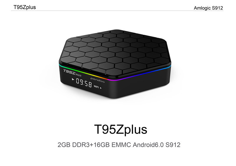 Android Pendoo T95z Plus Amlogic S912 4k Kodi 17.0 Loaded Add- LED Display WiFi 1080P Set Top Box