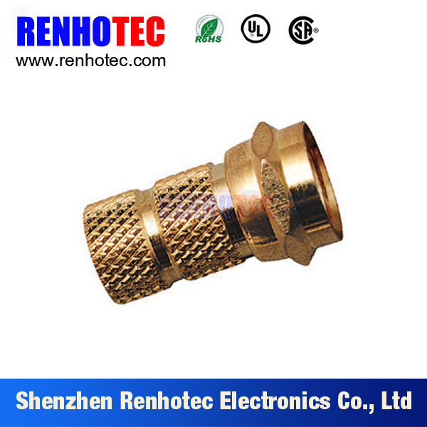 Gold-Plating Wire Connector F Male RG6 Compression Snap&Seal for Cable Assembly