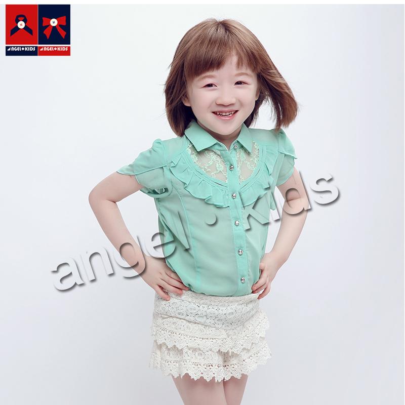 Kids Fashion Casual Chiffon Short Sleeve Shirt for Summer