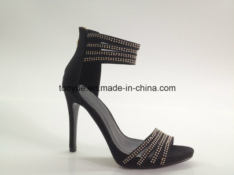 Lady Leather High Heel Metal Ring and Outheel with Zipper Sandals