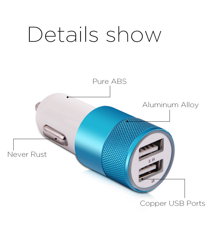 Promotional Portable Dual USB Car Charger for Smart Device