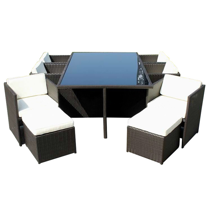 Elegant Outdoor Leisure Garden Furniture Wicker Rattan Dining Chair Table Set