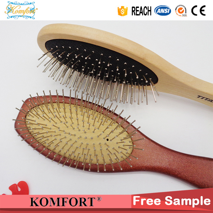 Wooden Detangling Magic Custom Hair Brush Wholesale with Steel Pins