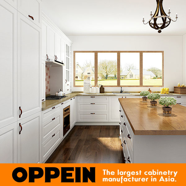 Oppein White L Shaped Kitchen Cabinets with Island OP17-PVC02