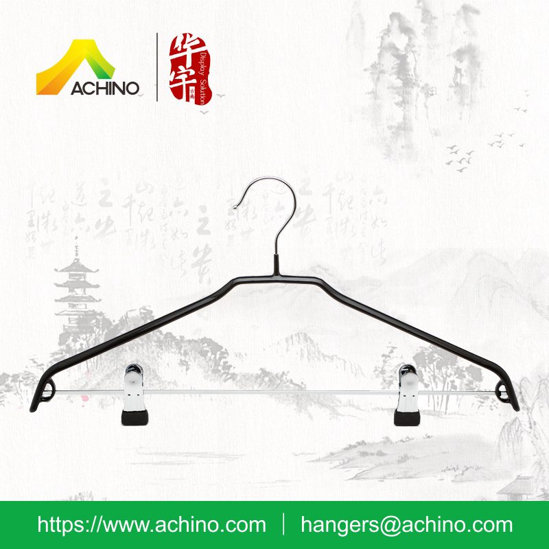 Black Non Slip Metal Hangers with Clips