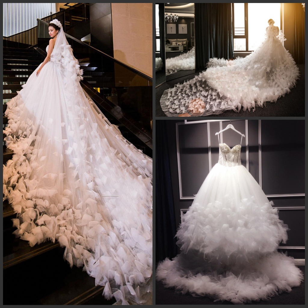 cathedral train wedding ball gown tulle flowers luxury wedding dresses h2017
