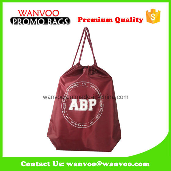 Polyester Reusable Custom Promo Drawstring Backpack Tote Bag