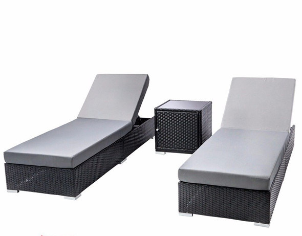 3PC Outdoor PE Wicker Lounge Bed Set