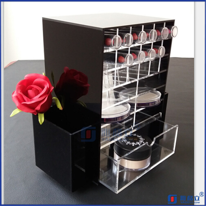 Black Rotating Customerized Acrylic Lipstick Holder with Logo