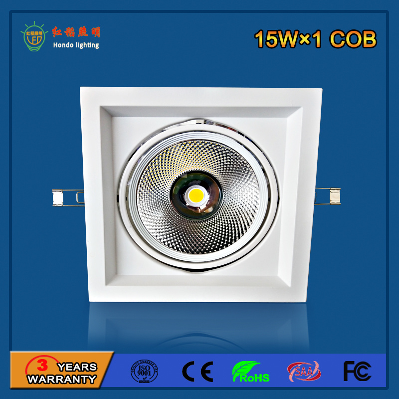Aluminum 90lm/W 15W LED Grille Light for Commercial Lighting
