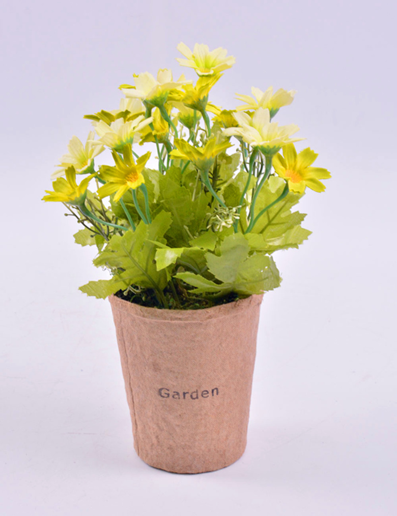 Handmade Nice Wild Flowers in Paper Mache Pot Fro Home Decoration