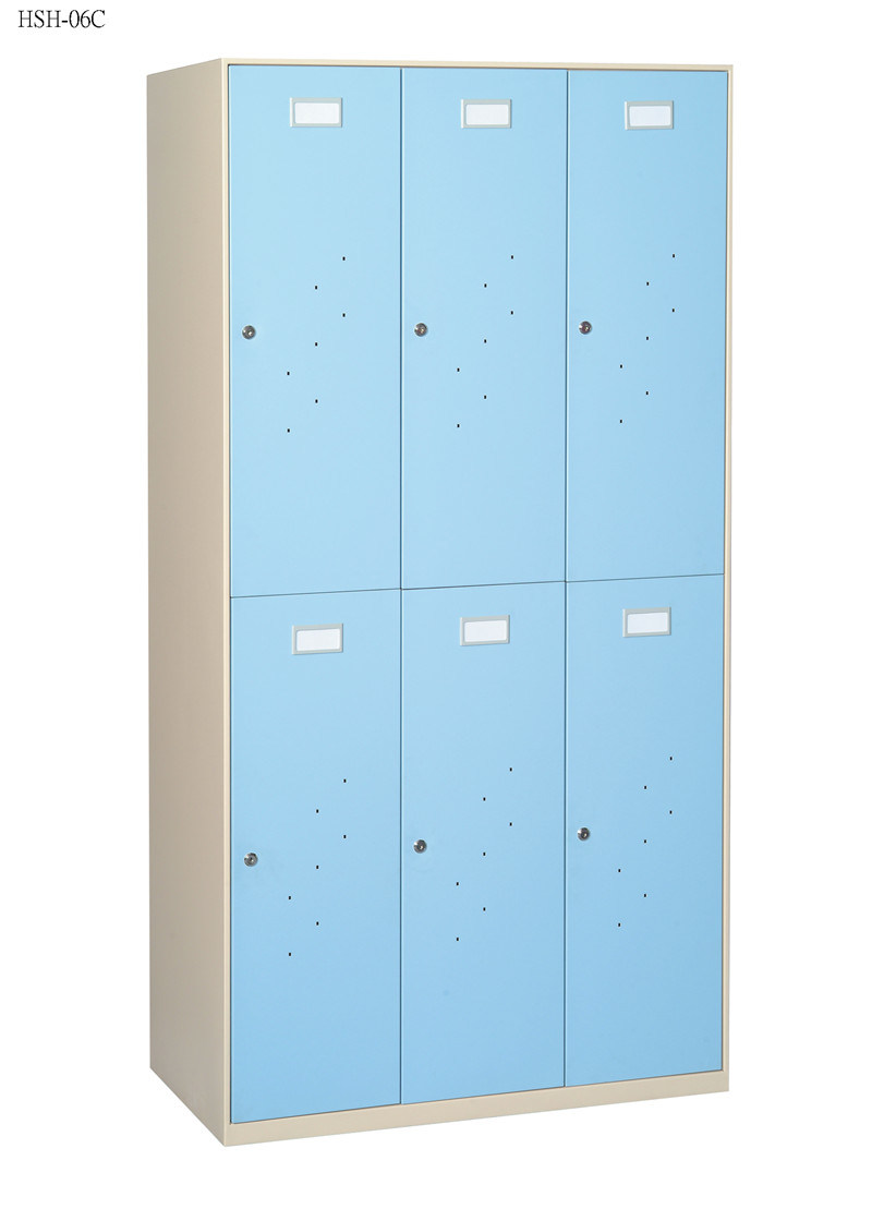 Six Swinging Doors Steel Locker with Supermarket Furniture/Wardrobe
