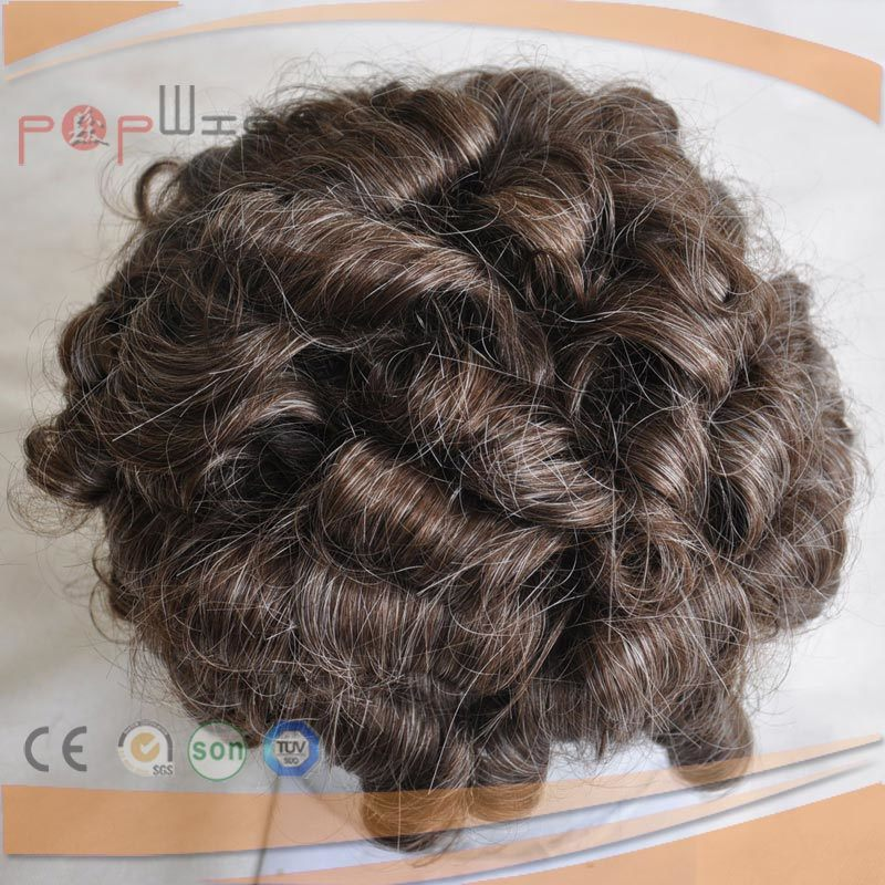 Full Human Hair Grey Color Mono Base PU Border Toupee