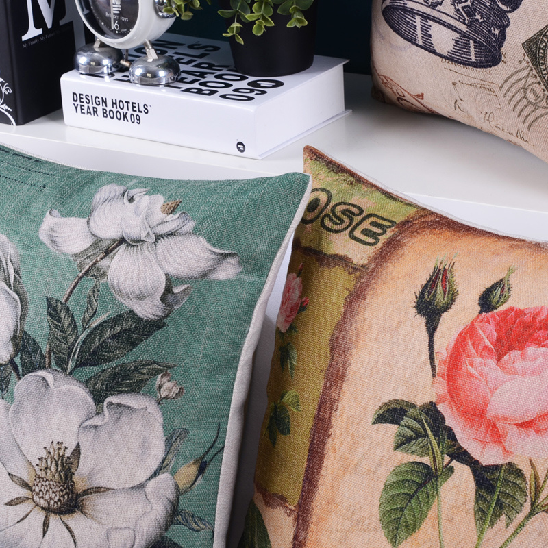 Cotton Linen Print Cushions for Living Room