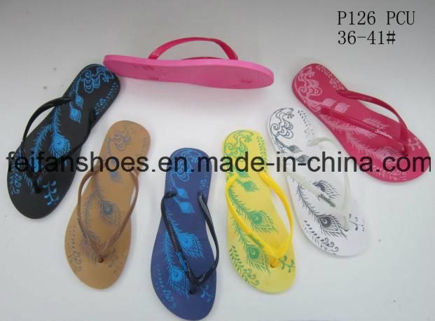Women PVC Slippers Good Price Flip Flops (FFDL112201)