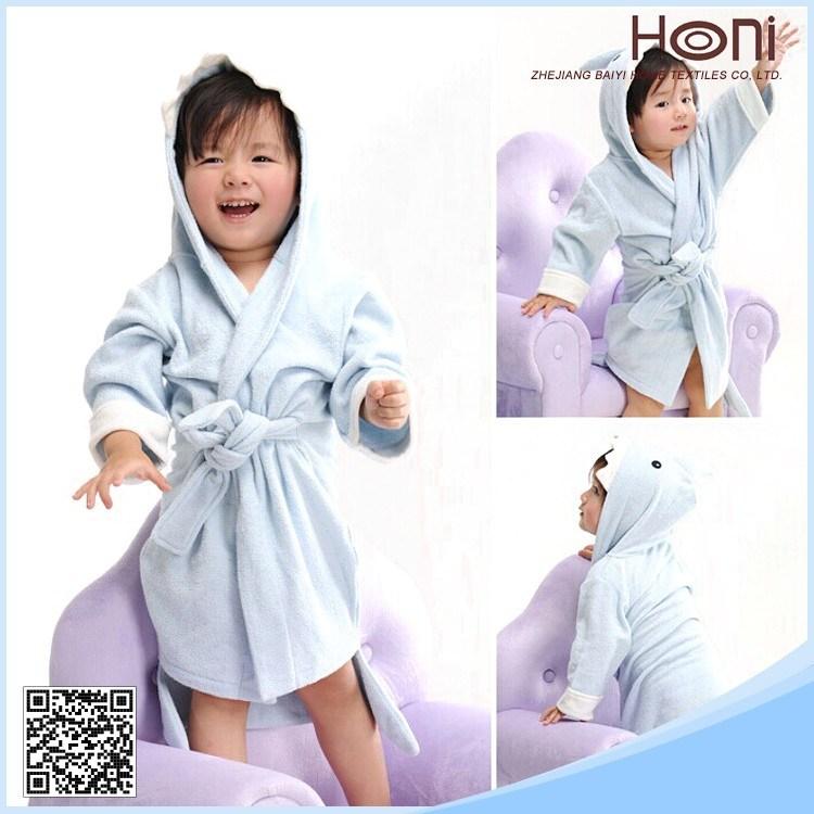 Wholesale Kids/Children/Baby Shark Shape Hooded 100% Cotton Kids Bathrobes