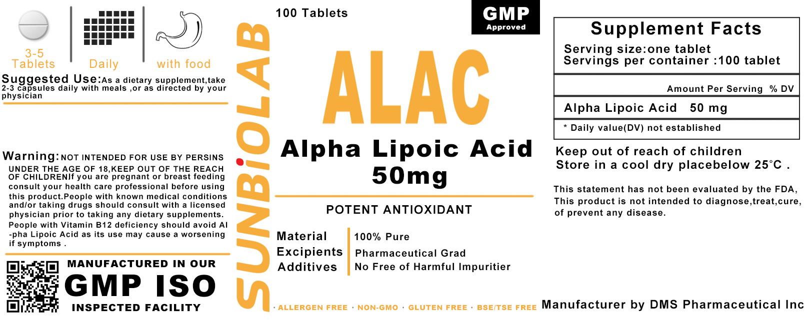 Thioctic Acid (Lipoic Acid) Tablet 50mg GMP Factory