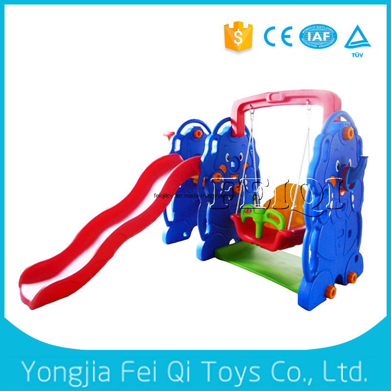 Unique Daycare Plastic Tube Slide with Swing and Plastic Basketball Stand