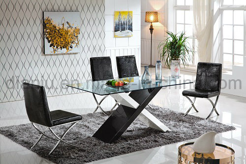Black Glass Stainless Steel Dining Table (A8068)