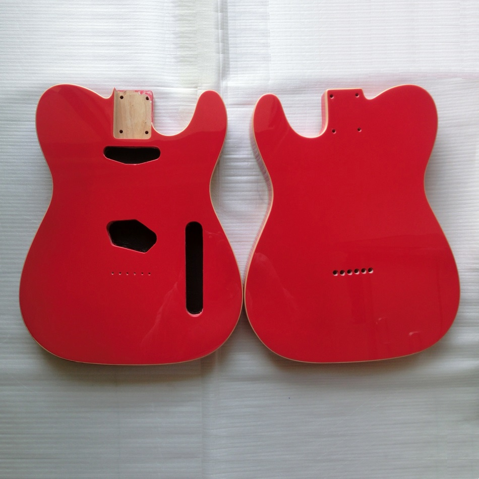Gloss Finished Fiesta Red Double Binding Tele Guitar Body