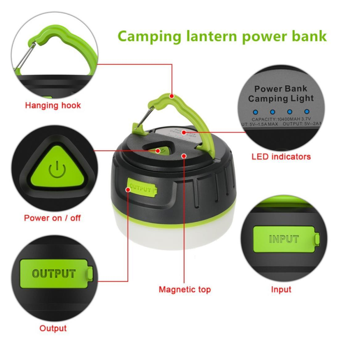 Cheap Price Plastic Material Fireproof 94V0 LED Light Portable Power Bank Camping Lamp for Tents