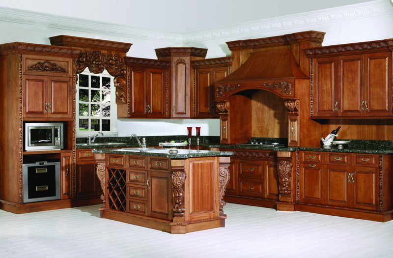 China red cherry solid wood kitchens photos pictures for Solid wood kitchen cabinets
