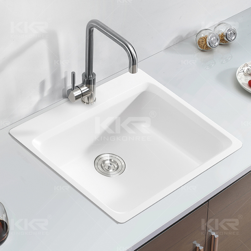 Kkr Square Single Bowl Solid Surface Kitchen Undermount Sink (S170911)