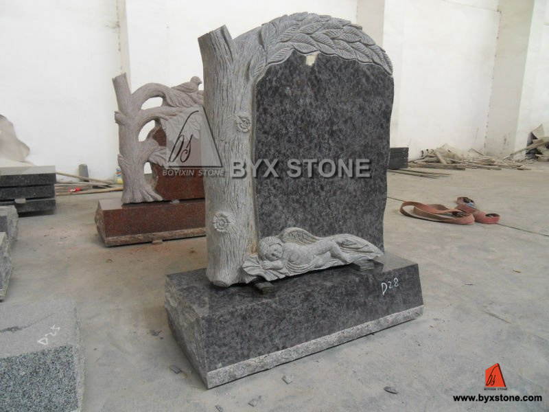 Shanxi Black Granite American Style Tree Shape Monument & Tombstone Bench